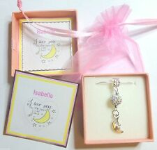 """""""I Love you to the Moon and Back"""" Moon Charm and Disco Ball Necklace Gift in Box"""
