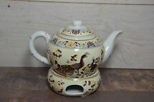 GOLD Porcelain Teapot Set Warmer Stand Base Tea 1L Peacock Ceramic Fine Bronze