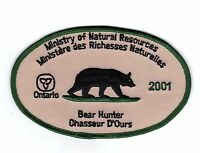 2001 ONTARIO MNR BEAR HUNTER PATCH-MICHIGAN DNR DEER-MOOSE-ELK-CREST-BADGE-FISH