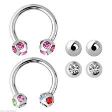 "Pairs of 4mm Balls Steel Body Jewelry Horseshoes (2) Ear Lip 14 Gauge 3/8"" w/4"