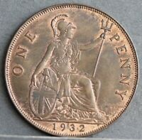 George V Bronze Penny, 1932, Uncirculated, Lots of Lustre. Scarcer Date