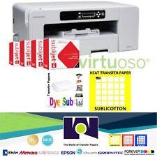 Sawgrass Virtuoso SG800 Printer, CMYK Ink + 100 Sh each Sublipaper + Sublicotton