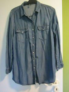 Jeanskleid Hemdblusenkleid ungefüttert blau Gr 42-44