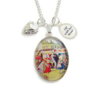 Alice in Wonderland necklace OFF with her head QUEEN charm pendant silver