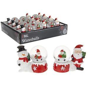 Christmas Xmas Santa Snowman Waterballs 4.5 cm Xmas Decoration Figurines X3