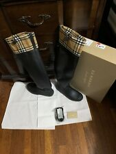 New Burberry Freddie Rubber Rain Boots, Black, 40