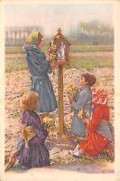 Belgium Chocolate Folklore Trade Card~Roman Catholic Children @ Prayer Box c1890