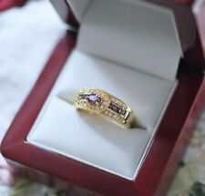 Vintage Jewellery Gold Ring Amethyst And White Sapphires Antique Jewelry Size P