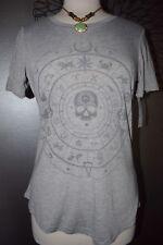 Gray Astrology Calendar SKULL LOL Vintage T-shirt top tee XS X-Small NWT Gypsy
