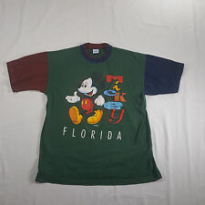 VTG 90s MICKEY MOUSE Florida Colorblock Graphic T Shirt LARGE Green maroon navy
