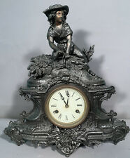 19thC Antique Victorian Era Lady Statue Figural Mantle Old Sculpture Clock
