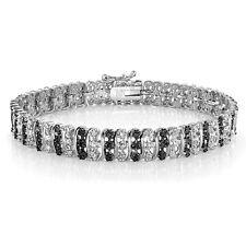 1.00ct TDW Treated Black & White Diamond S Pattern Tennis Bracelet in Brass