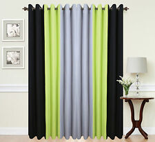 Eyelet Ring Top Ready made Designer Curtains Black Lime Green Grey