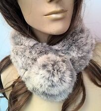 grey white genuine real rabbit fur pom pom scarf neck warmer collar shawl stole