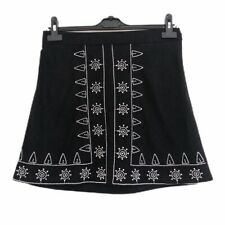 Boohoo Mini Skirt 12 Black White Embroidery A Line Faux Suede Festival Hippie
