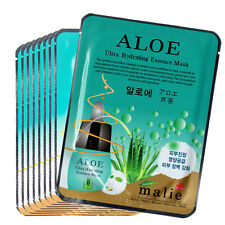 9 Pcs Aloe Facial Skin Care Mask Sheet Pack Essence Collagen Moisture Malie