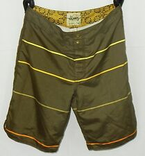 Old Navy Men's Board Shorts Sz M, Brown With Yellow Stripe EUC