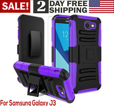 Samsung J3 Case Screen Protector Kickstand Holster Phone Belt Clip Stylus PURPLE
