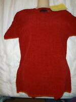 QVC Denim & Co, Fine Ribbed Knit Stripe Design Red Short Sleeve Sweater Sz S