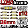 10x 38mm NUMBER PLATE INTERIOR 6000k BRIGHT WHITE 3 SMD LED C5W FESTOON BULB L@K