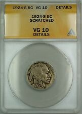 1924-S Buffalo Nickel 5c Coin ANACS VG-10 Details Scratched (Better Coin)