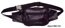 Black Leather Fanny Pack Phone Holder Waist Hip Bag Travel Sac 103