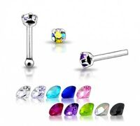 1 22g 6mm Silver CZ GEM Nose Stud Ring Bar Pin N100 New