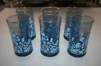 "6 Blue Floral Glass Tumblers, 70's era Glasses / 2-3/4"" Diameter x 5-1/4"" Tall"