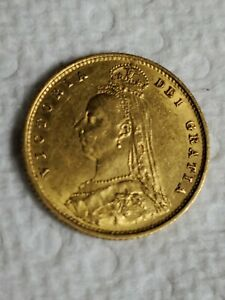 1887 British Gold Half Sovereign Victoria Jubilee Avg Circ