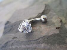 Heart Surgical Steel Belly Button Navel Ring Body Jewelry Clear Gem