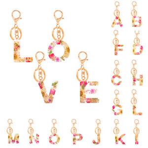 Letter Pendant Resin Key Chain Women Acrylic Glitter Keyring Holder Bag Gift