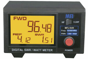 MFJ-849 Digital SWR/Wattmeter , HF/VHF/UHF,1.6-60 & 125-525 MHz  MHz 200W