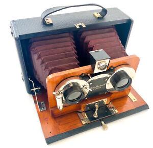 Stereokamera Emil Busch 9x18, um 1915, Balgenkamera, exzellenter Zustand