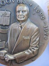 1& 7/8.OZ LONGINES STERLING SILVER FBI CHIEF J EDGAR  HOOVER 3D RELIEF COIN+GOLD