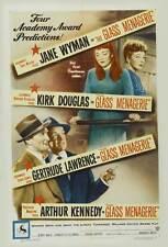 THE GLASS MENAGERIE Movie POSTER 27x40 Jane Wymna Kirk Douglas Gertrude Lawrence