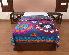 Vintage Uzbek Suzani Bedspread Twin Embroidered Cotton Bed Cover Ethnic Bedding