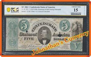 JC&C - T-33 $5 1861 Confederate States of America - CF 15 DETAILS PCGS Bn