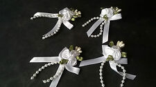 4 White Triple Rose Ribbon Bows with Pearl Bead Trim