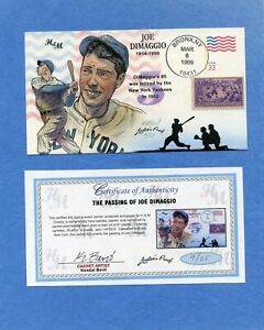 Passing of Joe Dimaggio Bevil (H&M) HD & HP Cachet First Day Cover Proof 9 /25