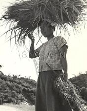 WWII Occupation of Japan- US Army Photo- Japanese Woman- Carries Load on Head