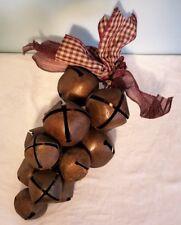 """Large 13 Graduated Sleigh Bells Grape Cluster Door Hanger 6-2 1/2"""" 7-1 3/4"""""""