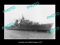 OLD LARGE HISTORIC AUSTRALIAN NAVY PHOTO OF THE HMAS VAMPIRE SHIP c1972