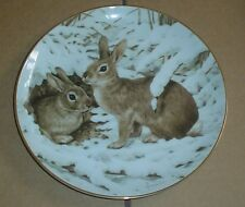 The Collectors Studio Collectors Plate RABBITS IN THE JANUARY SNOW