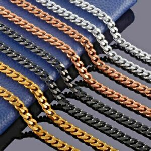 Mens Curb Chain 3MM 5MM 7MM 9MM ROSE GOLD black Silver jewellery Cuban Necklace