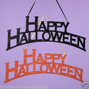 "HW1207 Set/2 14"" Happy Halloween Glitter Banner Wall Word Art Wood Ornament"