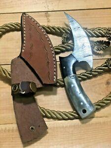 MH KNIVES CUSTOM HANDMADE DAMASCUS STEEL FULL TANG MINI AXE KNIFE MH-215