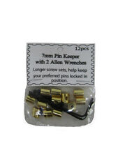 (12 Pieces) 7mm Gold Pin Keepers w/ Allen Wrenches (backs Locks Locking)