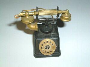 ANTIQUE TELEPHONE BLACK AND GOLD METAL DESK PENCIL SHARPENER IN BOX