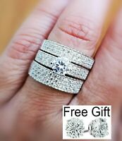 1.50Ct Diamond Engagement Wedding Trios His and Her Ring Set 14K White Gold over