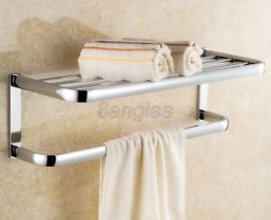 Polished Chrome Wall Mounted Bathroom Towel Rack Shelf Rails Double Bar 8ba831